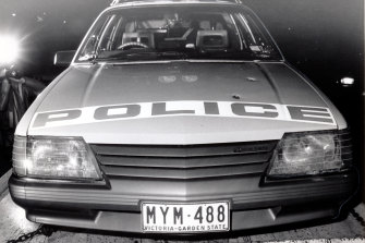 A police car showing bullet holes from the shooting in Noble Park.