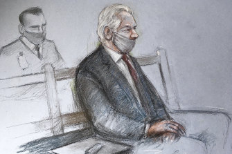A courtroom sketch of Julian Assange appearing at the Old Bailey in London on Monday.