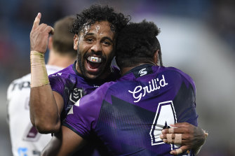 Josh Addo-Carr and Justin Olam celebrate a try during round 16.