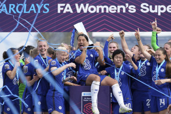 Sam Kerr was front and centre of Chelsea's FA WSL title celebrations - and rightly so.