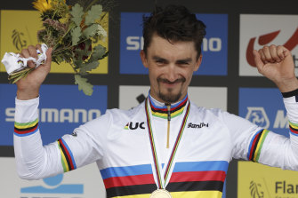 A familiar sight: Julian Alaphilippe is back in the rainbow stripes after winning in Leuven on Sunday.
