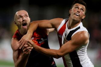 Melbourne's Max Gawn takes on Rowan Marshall on Saturday night.