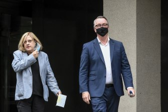 Emergency Services Minister Lisa Neville and Health Minister Martin Foley on Monday.