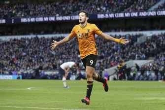 Raul Jimenez celebrates scoring for Wolverhampton Wanderers.