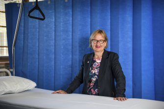 Professor Helen O'Connell at Footscray Hospital on Monday.