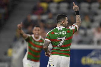 Adam Reynolds celebrates the match-winning field goal for South Sydney.