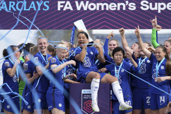 Sam Kerr was front and centre of Chelsea's FA WSL title celebrations.
