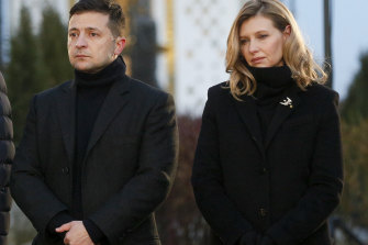 Ukraine President Volodymyr Zelensky and his wife Olena, pictured last year.