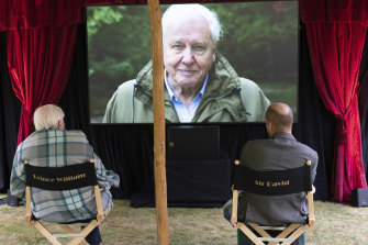 Sir David Attenborough, sits with Prince William for a private outdoor screening of his upcoming film, David Attenborough: A Life On Our Planet, at Kensington Palace.