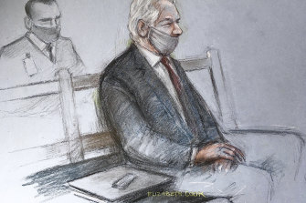 A courtroom sketch of Julian Assange appearing at the Old Bailey in London in January.