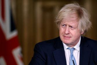 Britain's Prime Minister Boris Johnson during a coronavirus media briefing.