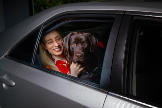 Sarah Sanelli and her chocolate lab Hank are ready to hit the road.