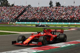 Sebastian Vettel steers his Ferrari in the Mexican Grand Prix.