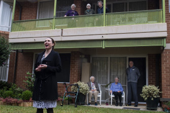 Star soprano Jane Ede serenades the residents of Alan Walker VIllage.