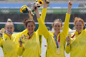 Olympic champions Lucy Stephan, Rosemary Popa, Jessica Morrison and Annabelle McIntyre.