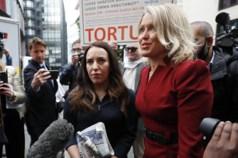 Julian Assange's girlfriend Stella Morris, left, and his lawyer Jennifer Robinson arrive at the court on Monday,