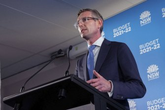 SW Treasurer Dominic Perrottet during a press conference at the 2021 NSW budget lock up.