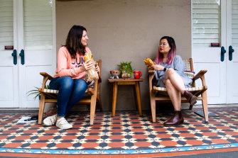 Lunch on the verandah of Que Minh's home in Sydney's inner west.