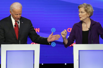 The frontrunners for the Democratic candidacy, former vice-president Joe Biden and Senator Elizabeth Warren, had a frank exchange.