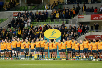 The Wallabies line up for the national anthem before the International Test match between the Australian Wallabies and France at AAMI Park on July 13.