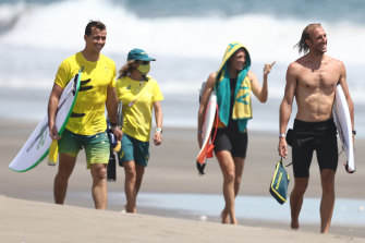 Australians Julian Wilson, Stephanie Gilmore and Owen Wright at a practice session at Tsurigasaki Surfing Beach, Japan.