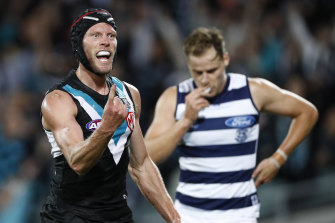 Brad Ebert kicked two for Port Adelaide.