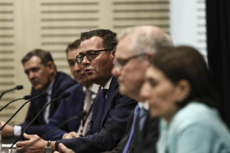 Daniel Andrews at a COAG meeting in Sydney with Prime Minister Scott Morrison and NSW Premier Glady Berejiklian.