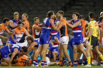 Bulldogs and Giants players involved in the scuffle in round three of the 2020 season.