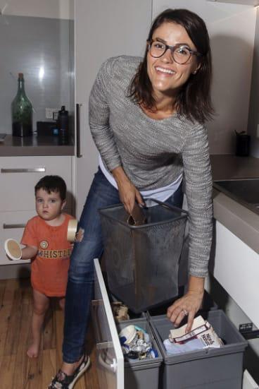 Jo Taranto and son Alfie separate household rubbish.
