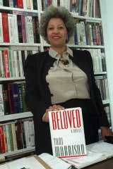 Toni Morrison with her novel Beloved in 1987.
