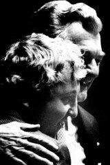 Kelty gets a hug from Hawke at the ACTU Congress in 1989.