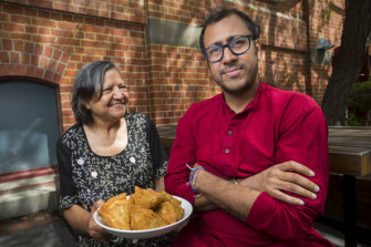 Asha Jain, left, and son Ravi Jain in Melbourne.