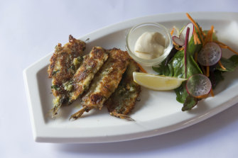 Crumbed sardines at Geppetto in East Melbourne.