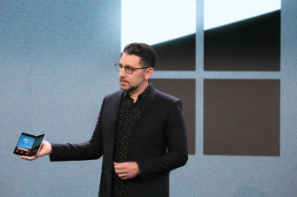 Panos Panay introduces the Surface Duo at an event in New York.