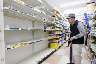 Empty shelves at a DIY shop in Yokohama on Friday after residents had started preparing for the worst.