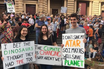 Yvette, Chloe and Zac travelled from Geelong to be at the Melbourne climate change strike.