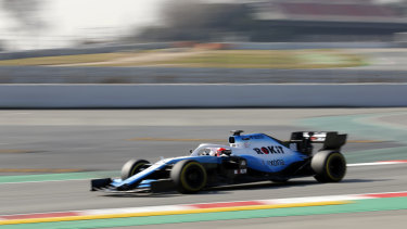 Kubica in action for Williams during F1 pre-season testing.