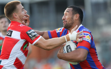 See you in court: Knights centre Tautau Moga stands accused of assaulting a taxi driver.