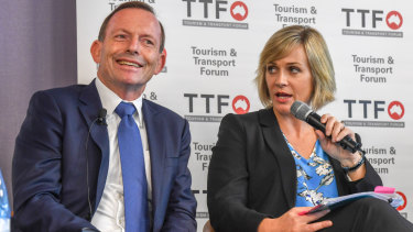 Tony Abbott with independent Warringah challenger Zali Steggall at a forum last month.