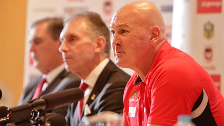 Brains trust: Outgoing St George Illawarra Dragons chief executive Peter Doust, new boss Brian Johnston and coach Paul McGregor.