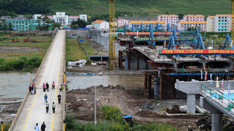 Old and new bridge: the old bridge was built by the Japanese in 1941, while the construction of new bridge was agreed by Chinese and North Korean government in 2015.