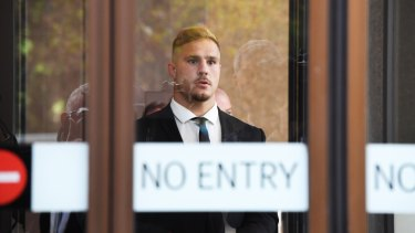 Fronting up: While Jack de Belin was under no obligation to be in court, and was not called to give evidence, he sat through all four days of the case that could decide his future in the game.
