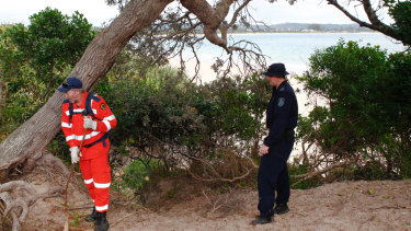 SES and police ramp up search at The Pass in Byron Bay on Tuesday.