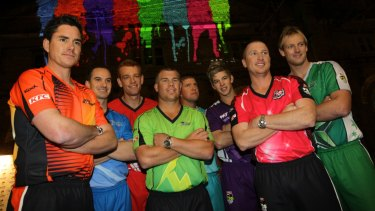 Splash of colour: The inaugural Big Bash captains launch the league in 2011.