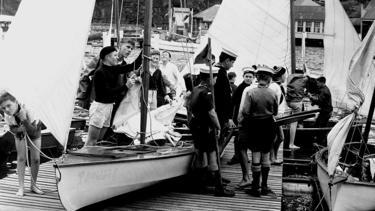 Members of the Sea Scouts prepare for their annual regatta at Mosman Rowing Club in 1959.