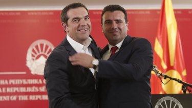 Tsipras and Zaev hugged during a news conference after their historic agreement.