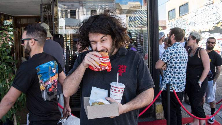Jordan Zaz queued for hours to get his hands on one of 300 burgers at In-N-Out's most recent Melbourne pop-up.