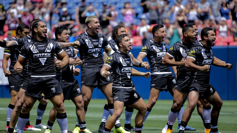 Rocky mountain high: The Kiwis perform the haka during the Denver Test.