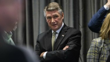 Mark Harris, Republican candidate in North Carolina's 9th Congressional race, during a public hearing on ballot irregularities.