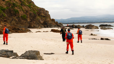 SES volunteers scoured the beach on Tuesday, but failed to find any trace of Theo Hayez.